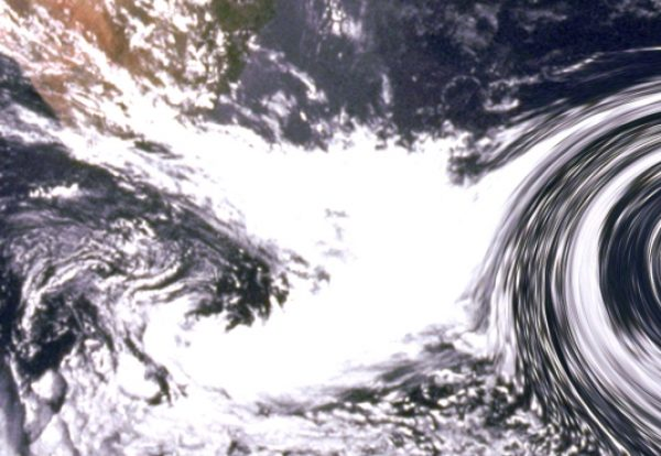 Large Hurricane clouds in ocean approaching coast