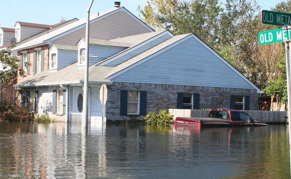 this photo shows the flooding incurred in new orleans after hurricane katrina. the flood water in this metairie neighborhood was just over five feet.